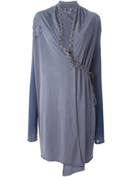 Lost And Found Cross Back Wrap Cardigan Blue