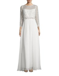 Decode 1.8 Illusion Sequined Cocktail Gown Ivory
