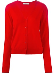 Schumacher Frayed Trim Cardigan Red