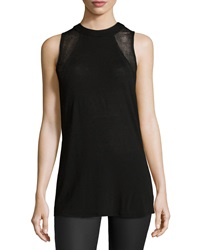 Ella Moss Perforated Sleeveless Tee Black