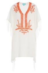 Taj Embellished Silk Kaftan White