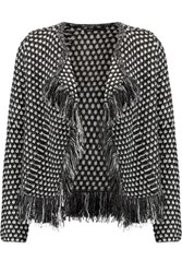 Maje Metallic Fringed Woven Cardigan Charcoal