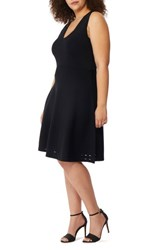 Rebel Wilson X Angels Plus Size Women's Pointelle Detail Fit And Flare Dress Black