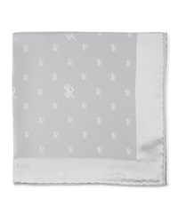Stefano Ricci Silk Logo Pocket Square Gray