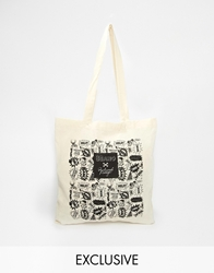 Reclaimed Vintage Beano Cartoon Strip Tote Bag Beige