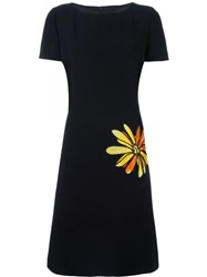 Boutique Moschino Embroidered Flower Dress Black