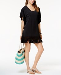 Dotti Beach Blossom Fringe Tunic Cover Up Women's Swimsuit Black