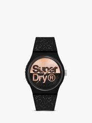 Superdry Syl273b 'S Glitter Silicone Strap Watch Black Rose Gold