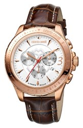 Roberto Cavalli Men's Franck Muller By Chronograph Leather Strap Watch 43Mm Brown White Rose Gold