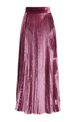 Luisa Beccaria Velvet Pleated Skirt Pink