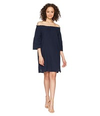 Allen Allen Ruffle Edge Linen Dress Lapis Navy