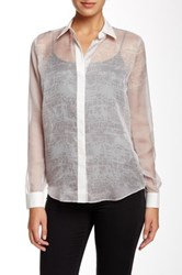 L.A.M.B. Sheer Back Band Blouse Metallic