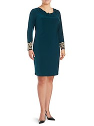 Marina Lace Embroidered Cowlneck Dress Teal