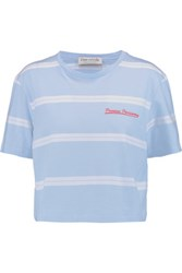 Etre Cecile Cropped Embroidered Striped Cotton Jersey T Shirt Sky Blue