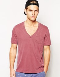 Asos T Shirt With Relaxed Fit And Vintage Look Pigment Dye Red
