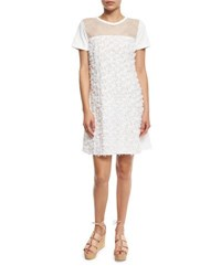 See By Chloe Short Sleeve Floral Jersey Shift Dress Cloud Dancer