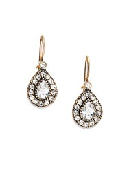 Azaara Vintage Delicate Swarovski Crystal Antiqued Teardrop Earrings Antique Gold