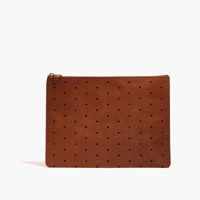 Madewell The Large Pouch Clutch Geo Holepunch Edition English Saddle