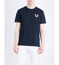 True Religion Metallic Logo Detail Cotton Jersey T Shirt Midnight