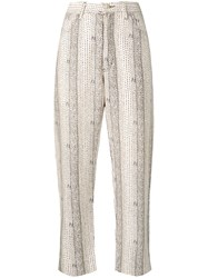 Fendi Vintage Straight Dot Print Trousers Neutrals