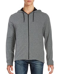 Kenneth Cole Reversible Cotton Hoodie Black Grey