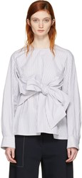 Cyclas Grey Striped Front Bow Blouse