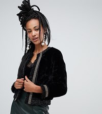 River Island Faux Fur Jacket With Chain Detail In Black