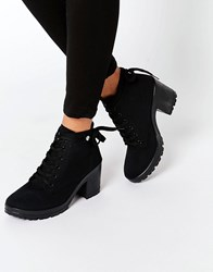 Blink Lace Up Chunky Heeled Boots Black