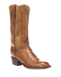 Lucchese Colton Gator Leather Cowboy Boots Brown