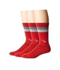 Drymax Sport Run Lite Mesh Crew 3 Pack Torrid Red Anthracite Gray Stripes Crew Cut Socks Shoes