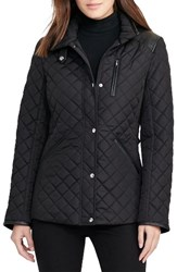 Lauren Ralph Lauren Women's Faux Leather Trim Quilted Jacket Black