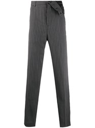 Y Project Striped Knitted Tailored Trousers Grey