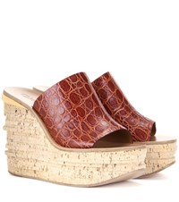 Chloe Camille Embossed Leather Platform Wedge Sandals Brown