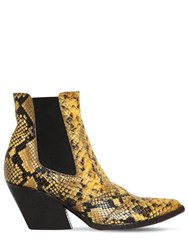 Elena Iachi 60Mm Snake Print Leather Cowboy Boots Yellow