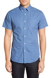 Men's Slate And Stone Slim Fit Short Sleeve Paisley Sport Shirt Dark Blue Aqua