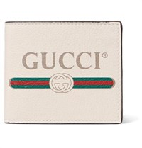 Gucci Printed Full Grain Leather Billfold Wallet White