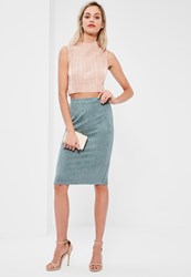 Missguided Faux Suede Midi Skirt Blue