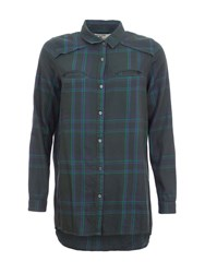 Garcia Oversized Check Cotton Shirt Green
