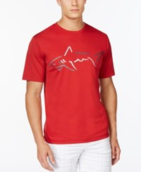 Greg Norman For Tasso Elba Big Shark Performance T Shirt Banner Red