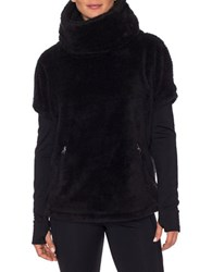 Betsey Johnson Layered Sherpa Funnel Neck Sweater Black