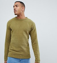 D Struct Tall Oversized Crew Neck Jumper Green