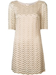 Alice Olivia Metallic Zigzag T Shirt Dress Nude Neutrals
