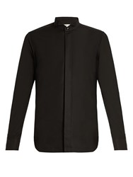 Saint Laurent Wingtip Collar Single Cuff Cotton Shirt Black