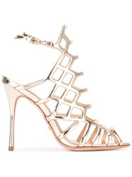 Schutz Caged Sandals Metallic