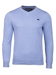 Raging Bull Men's Big And Tall V Neck Cottoncashmere Sweater Mid Blue