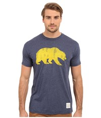 The Original Retro Brand Short Sleeve Heathered Cal Tee Heather Navy Men's Short Sleeve Pullover