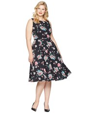 Unique Vintage Plus Size Harriet Swing Dress Black Floral Multi