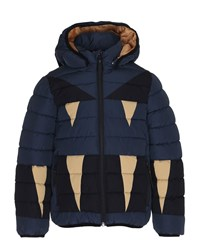 Molo Monster Hooded Puffer Jacket Size 4 10 Navy