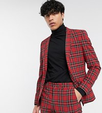 Heart And Dagger Suit Jacket In Red Tartan