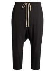 Rick Owens Dropped Crotch Cropped Cady Trousers Black